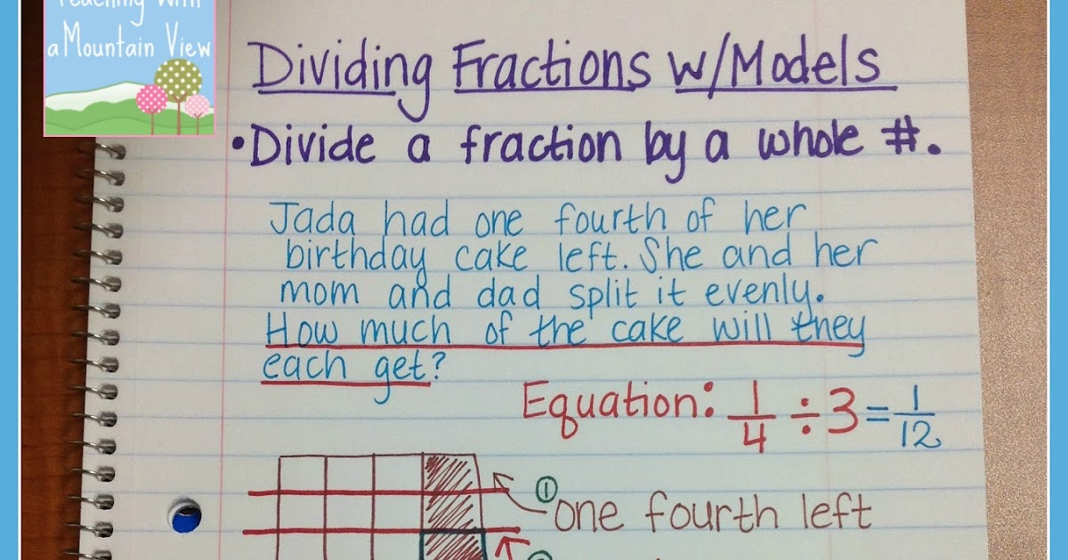 Teaching With A Mountain View Dividing Fractions Anchor