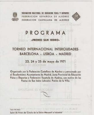 Programa de actos del Torneo de Ajedrez Internacional Interciudades Barcelona-Lisboa-Madrid 1971