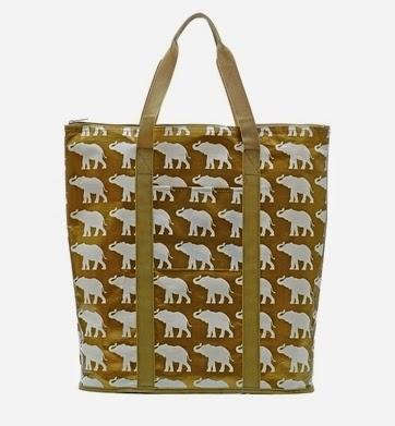 preppy elephant tote bag