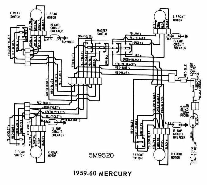 Mercury+1959 1960+Windows+Wiring+Diagram mercury 1959 1960 windows wiring diagram all about wiring diagrams mitsubishi l300 wiring system diagram at reclaimingppi.co