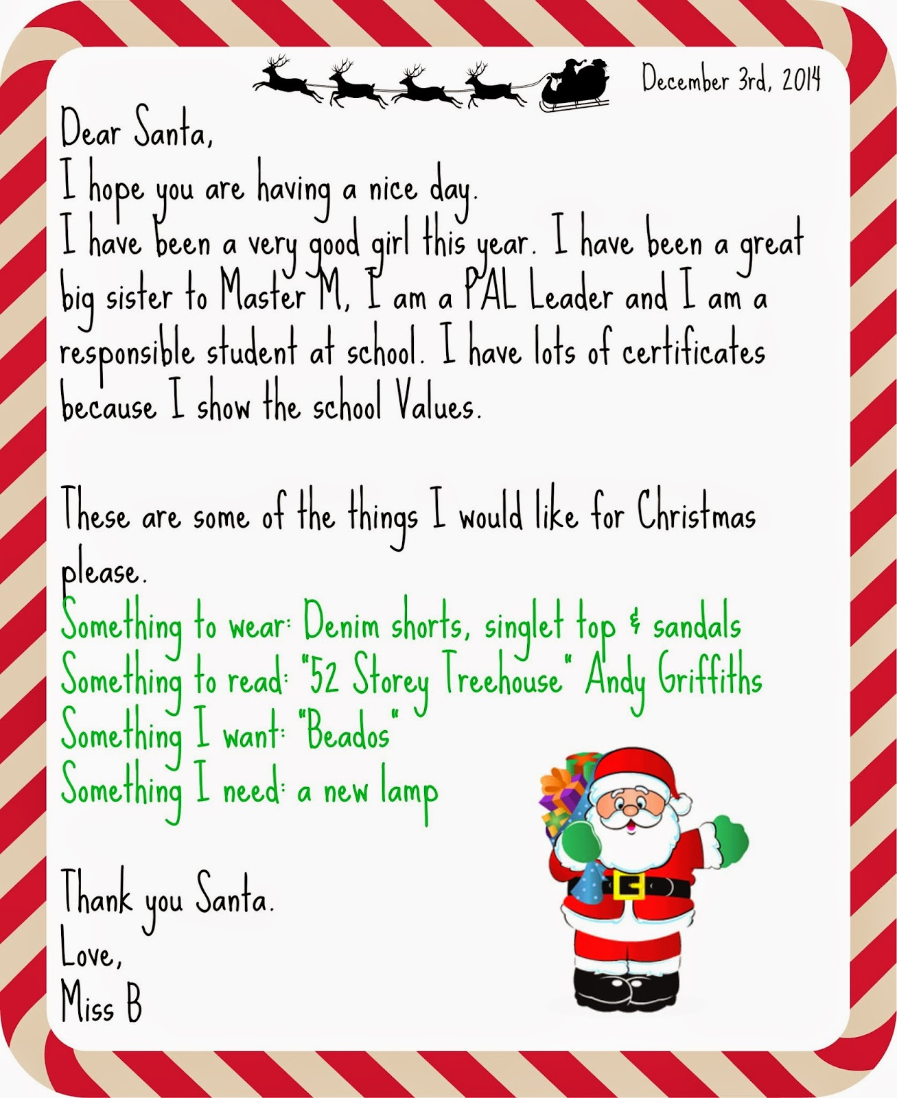 Advent calendar day 3 write a letter to santa teacher by trade check out her letter and the wish list that she has been working on for a couple of months now and is still adding to it spiritdancerdesigns Images