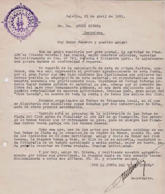 Carta del Club Ajedrez Lucena a Ángel Ribera, 1951