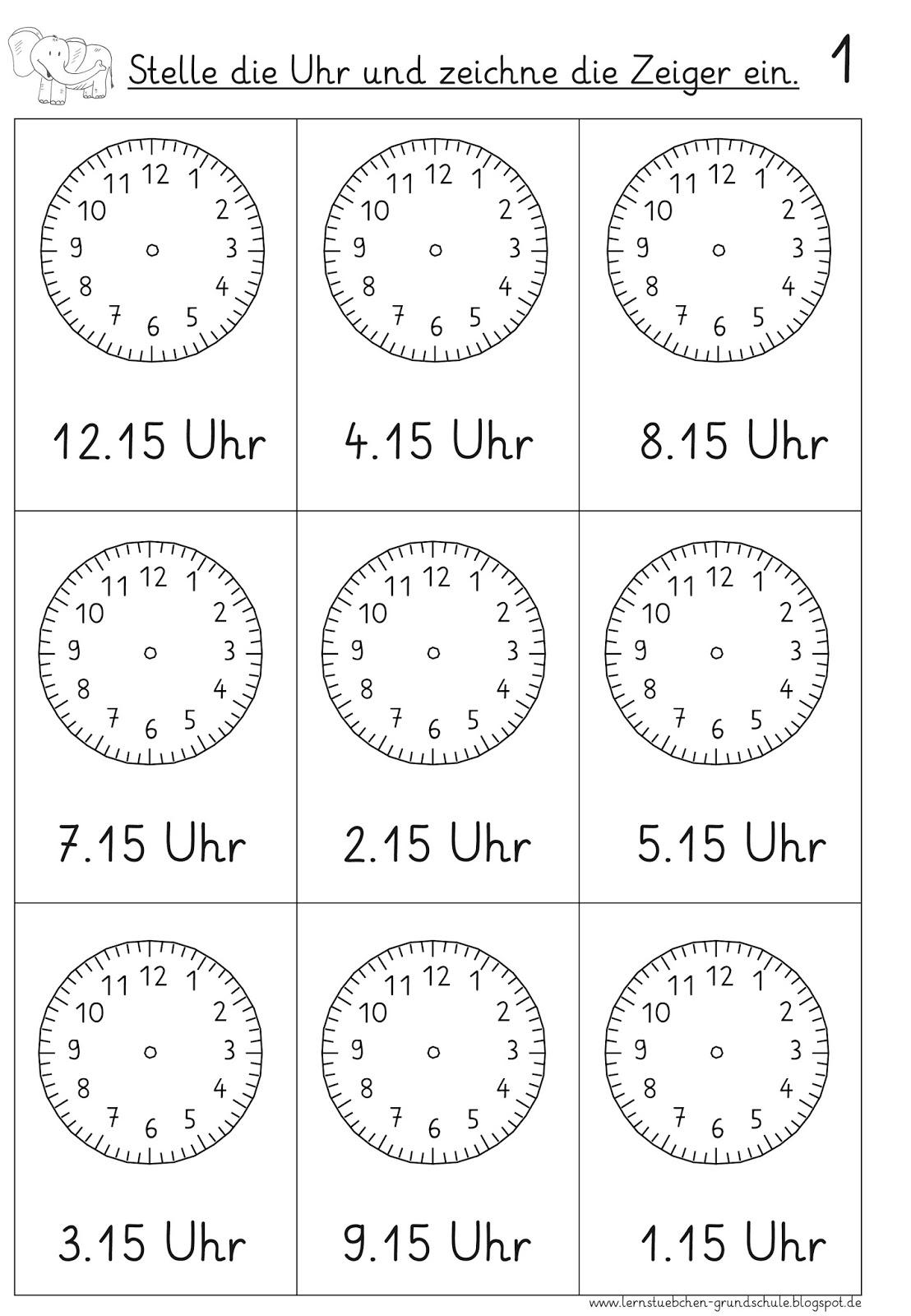 Uhrzeit lernen PDF Arbeitsblätter Uhrzeit Klasse 2