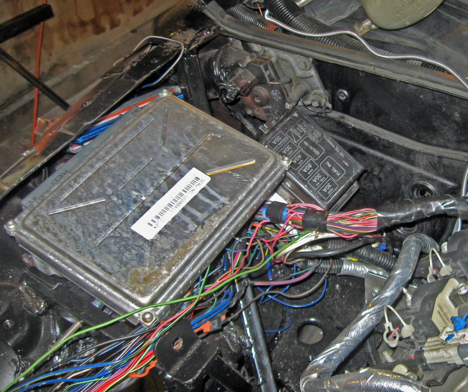Jim And Jenna Build Diary Miata Ls1 Conversion Odds Ends Oops Box For Computer Wiring Harness I Tried To Plug In The Connectors On Transmission But Wires Would Not Reach Had Laying Top Of Engine