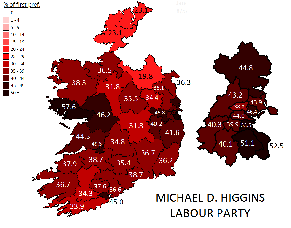 2011 presidential election michael d higgins first preference votes
