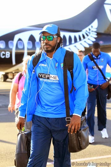 Chris Gayle, a top batsman - The West Indies cricket team and management arrive at Hawke's Bay Airport, Napier, for their ICC CWC Cricket World Cup match against UAE United Arab Emirates at McLean Park, Napier, on Sunday 15 March. photograph