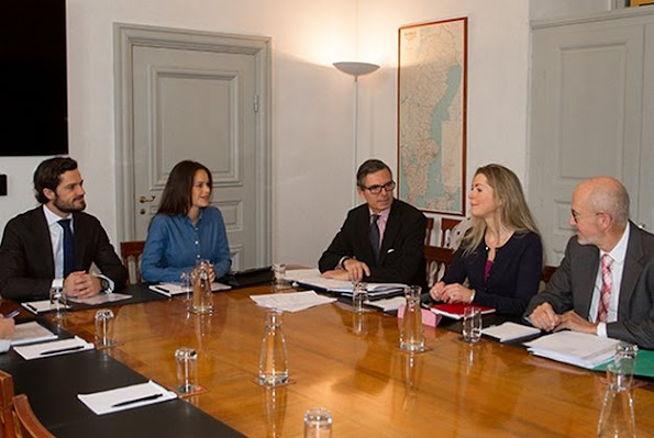 "Princess Sofia Hellqvist of Sweden and Prince Carl Philip of Sweden attended the board meeting of the ""Prince Couple's Foundation"" at the Royal Palace"