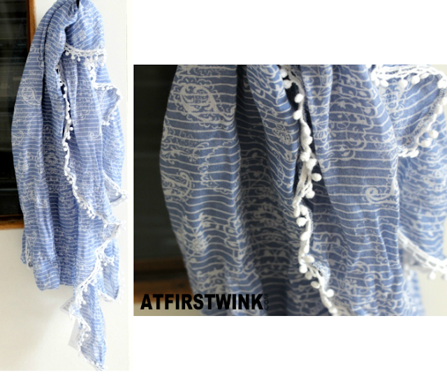 H&M blue striped scarf with white balls rim