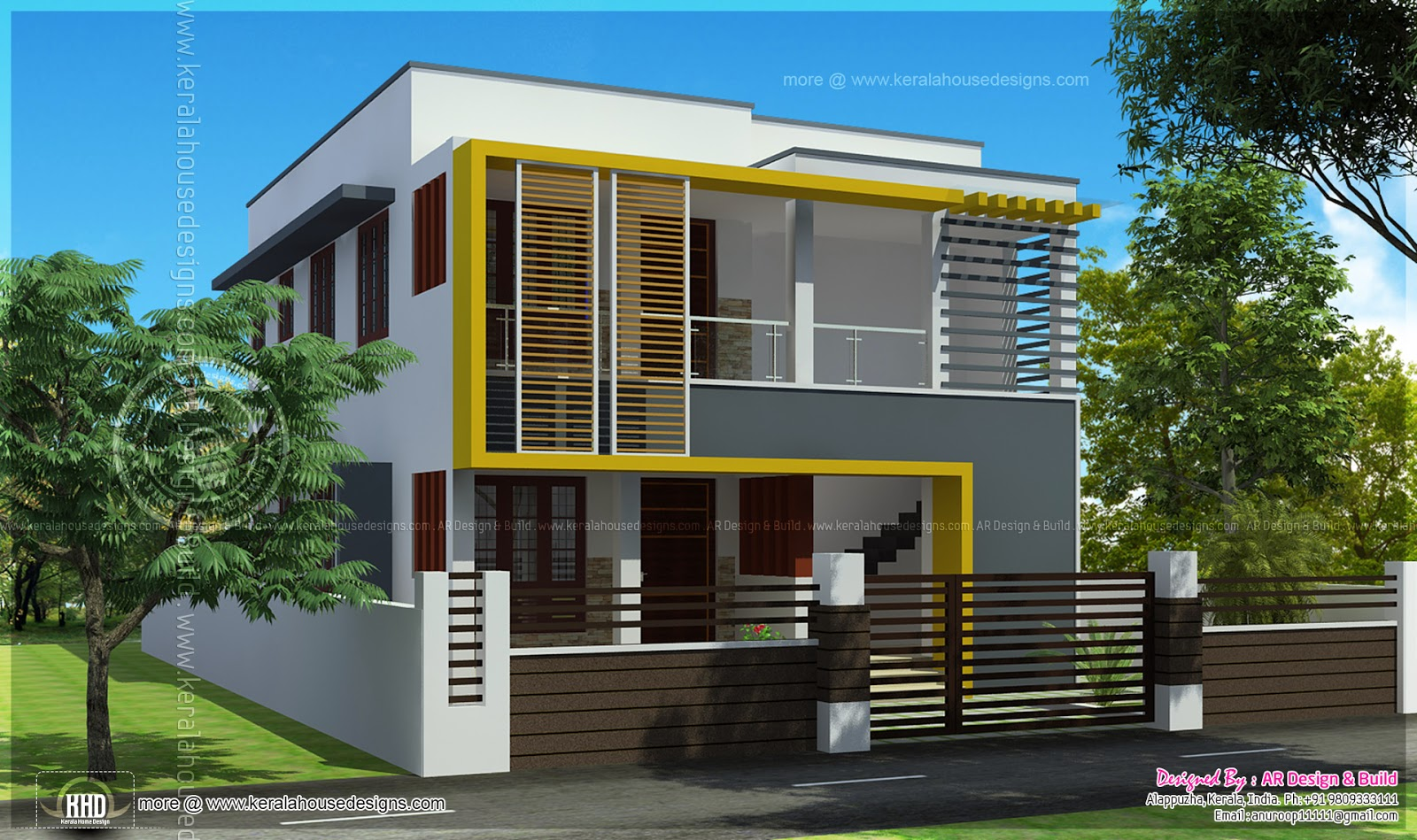 Duplex house elevation 1000 sq feet each kerala home for 1500 sq ft duplex house plans
