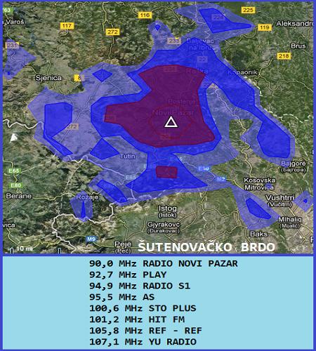 Mapa pokrivenosti Šutenovačko brdo