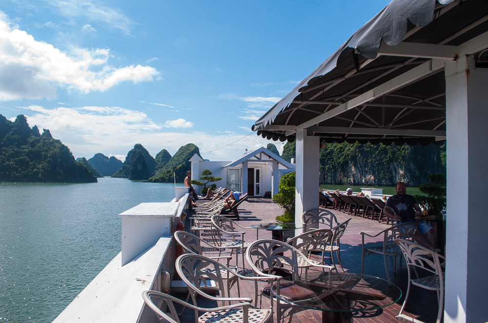 image of the cruise deck ha long bay vietnam