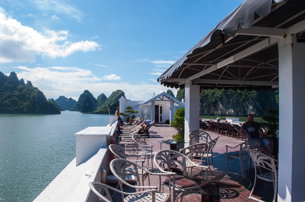 image of the cruise deck ha long bay vietnam