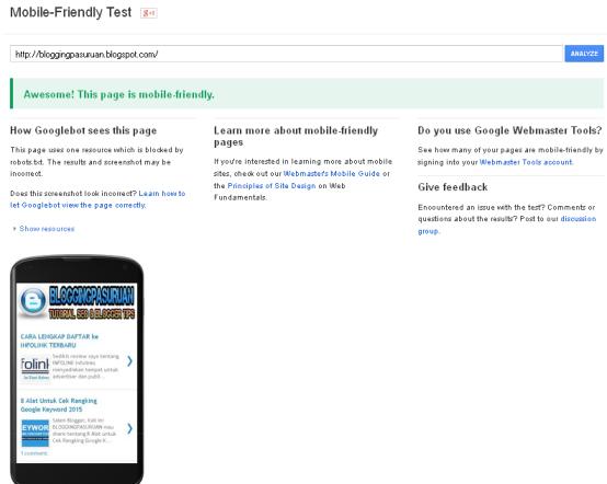 Cara Test Website atau BLOG sudah Mobile Friendly atau belum