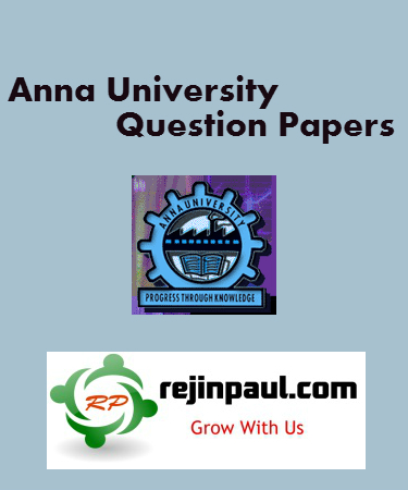 Anna University Question Papers - UG PG Previous Year Model Question Papers