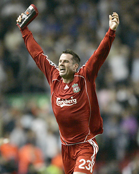 Real Madrid Legends 4 2 Liverpool Legends Tale Of Two: Jamie Carragher Wallpaper