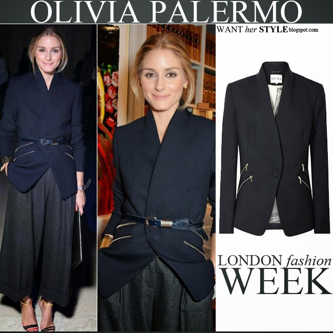 Olivia Palermo in blue belted blazer with zippers by Reiss with grey wide leg pants september 14 2014 want her style