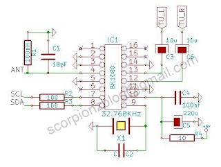 Schematic of BK1080 I2C FM Receiver