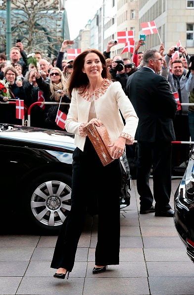 crown princess mary wearing wide leg trousers