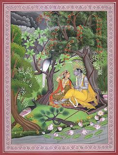 Krishna Braiding Radha's Hair