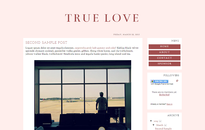 Blogger Design Template Sample: Unconditional ($20)