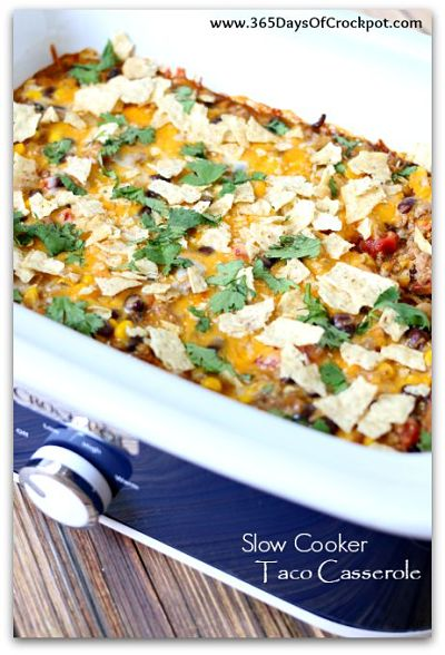 Slow Cooker Taco Casserole--all the familiar flavors of tacos but in a casserole form and even better yet it's made in the slow cooker!