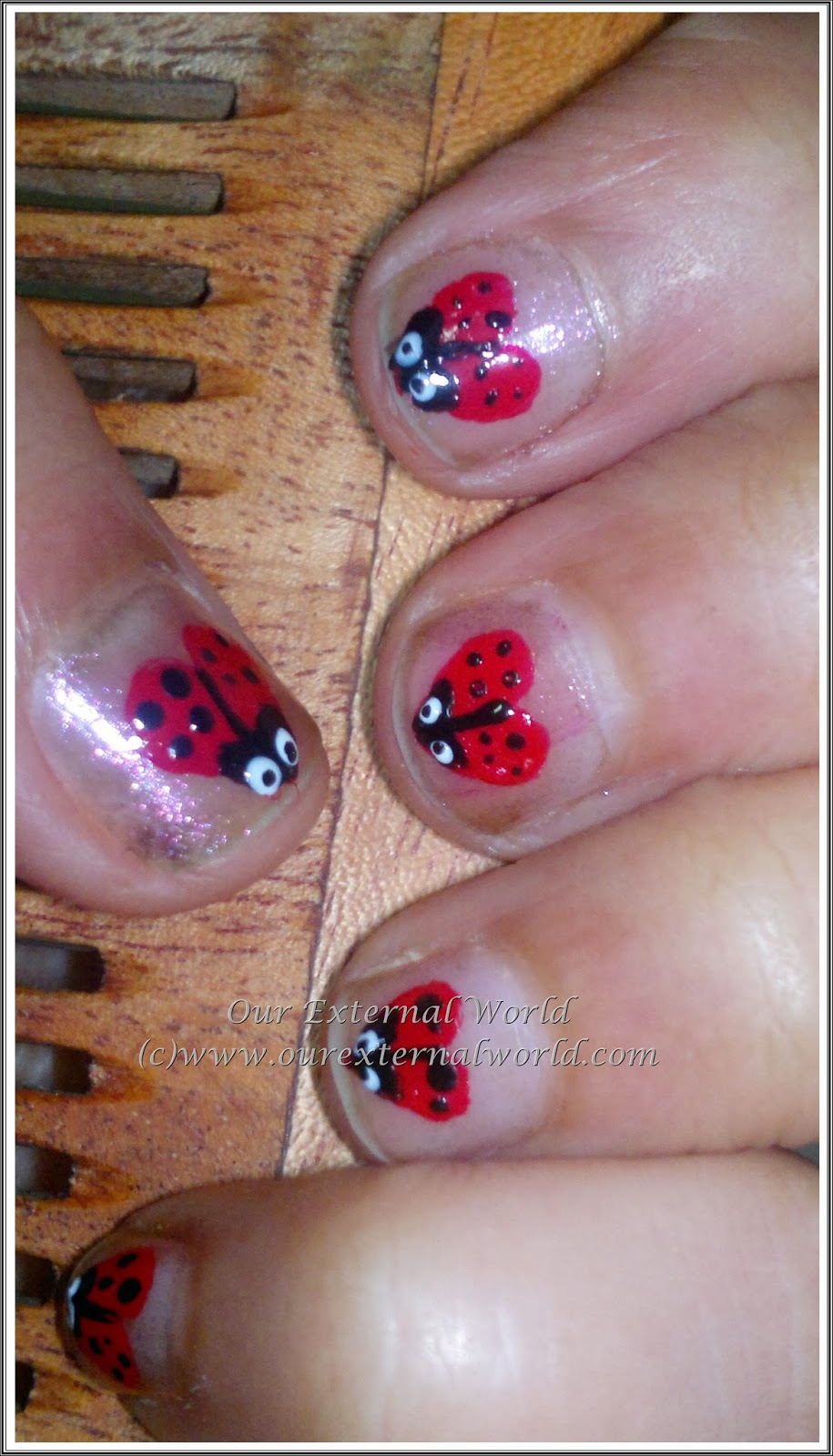 Valentine's Nail Art Tutorial - Lady Bug Hearts