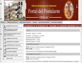 Ingresantes Examen Primera Oportunidad UNSAAC 2015 Universidad Universidad San Antonio Abad del Cusco, domingo 17 de Agosto