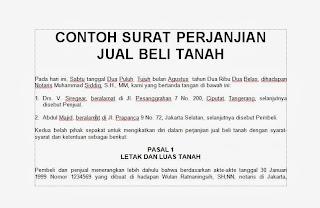 doc CONTOH SURAT PERJANJIAN JUAL BELI TANAH