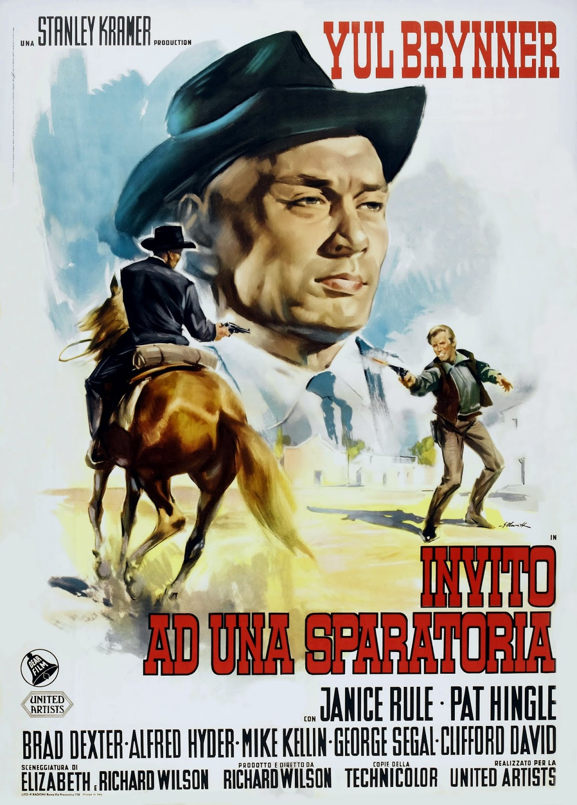Invitation to a Gunfighter Foreign Film Poster Starring Yul Brynner