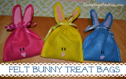 easter basket ideas, bunny bags, felt bunny bags