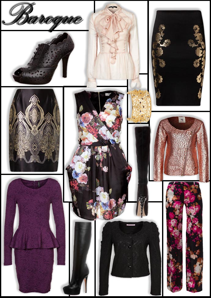 Collage of clothes following the Baroque trend chosen from the online store Zalando UK