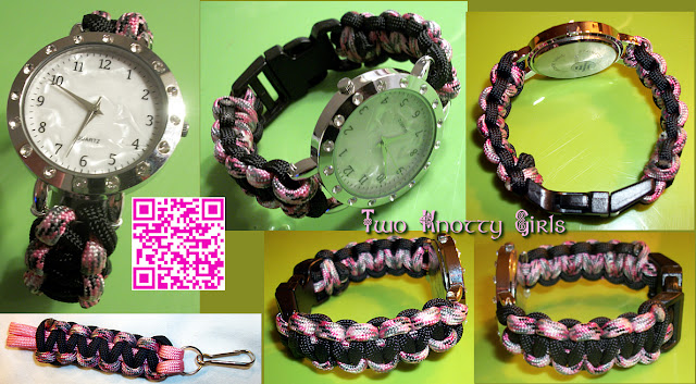 Ladies Watch on Pink Camo & Black Paracord Band