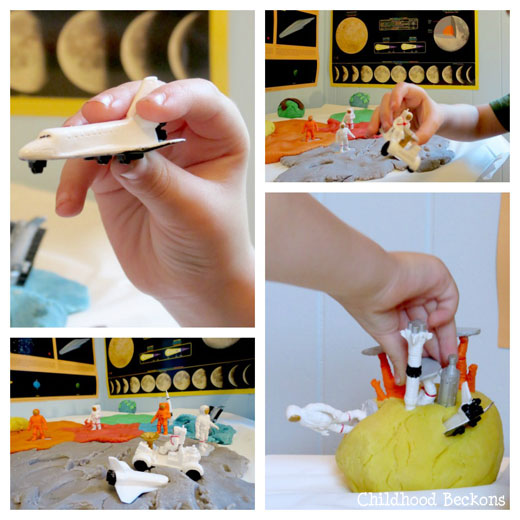 creative play with space toys and play dough