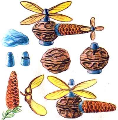 Поделки из грецкого ореха и шишек