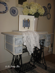 Antique Chalk-Painted Sewing Cabinet