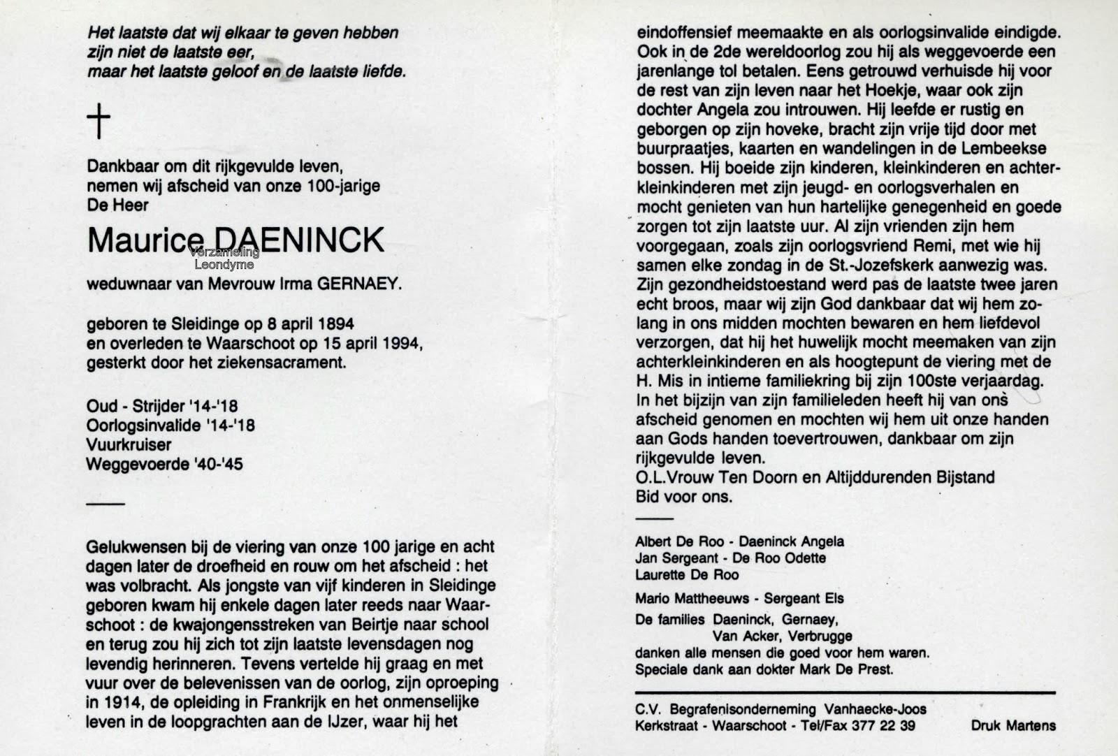 Bidprentje Maurice Daeninck. Verzameling Leondyme.