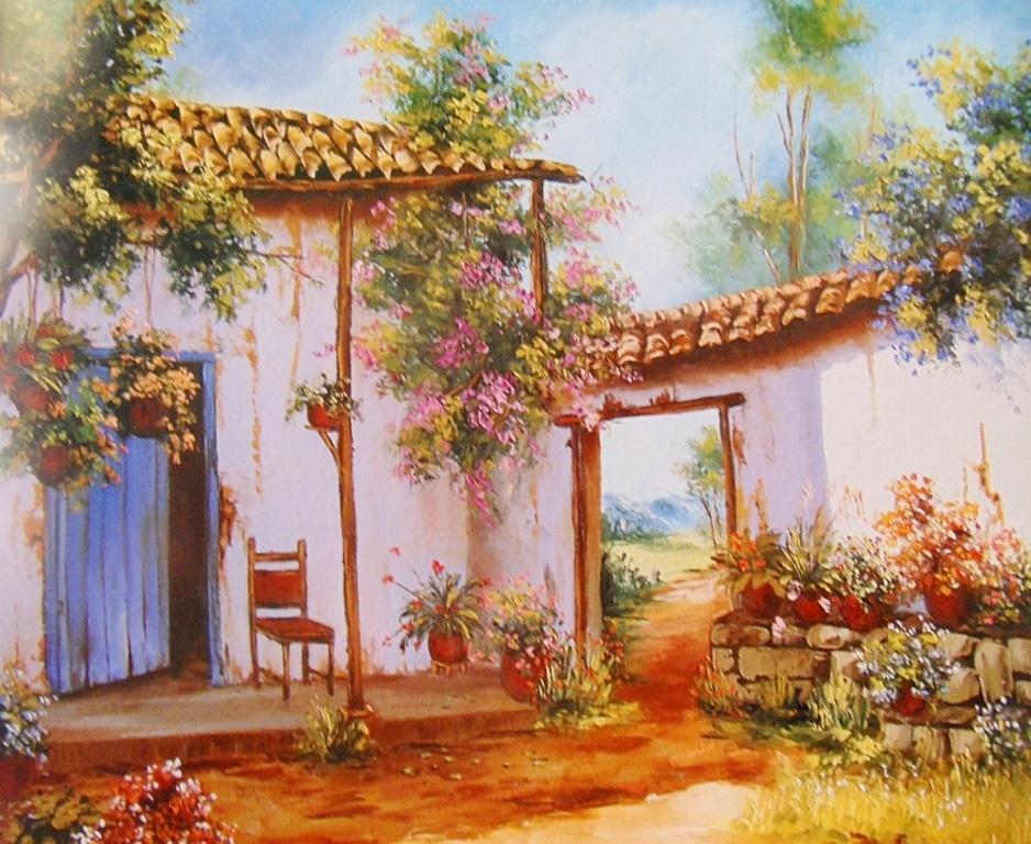 Pinturas cuadros lienzos cuadros de casas de pueblos - Cuadros de casas ...