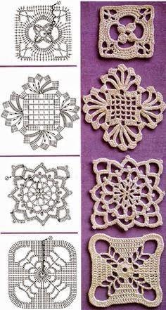 4 modelos de apliques para tejer con crochet