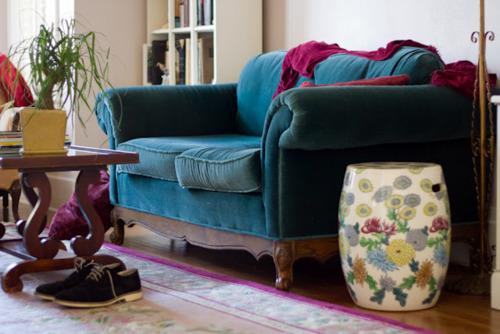 Bright Bold Turqouise Sofa