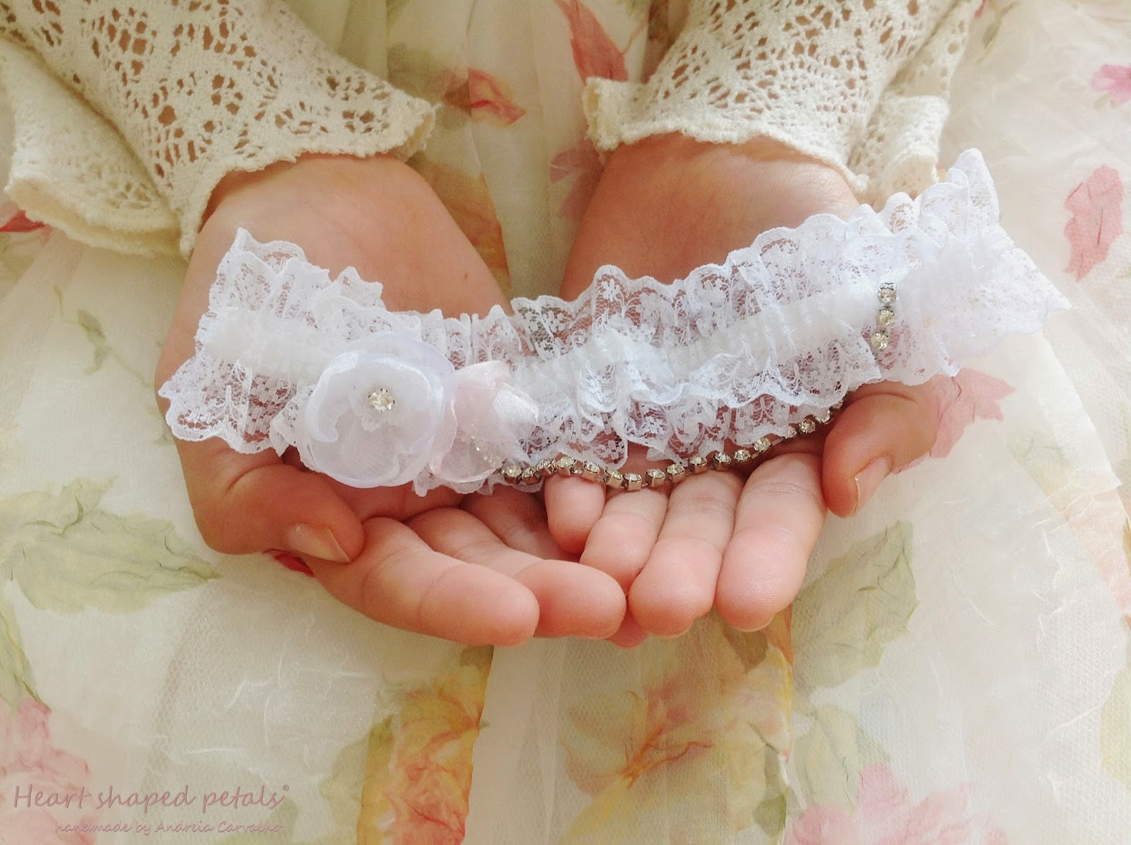 Bridal lace garter pink white flowers