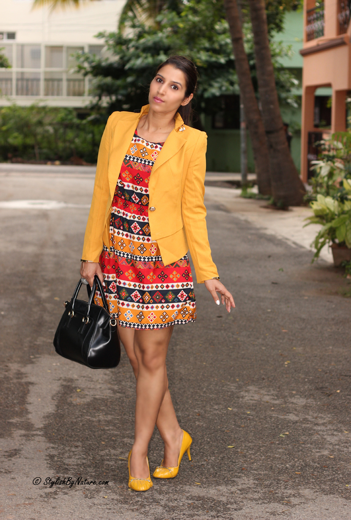 Tribal print Dress, Mustard Blazer, Slim fit Blazer, Mustard Heels