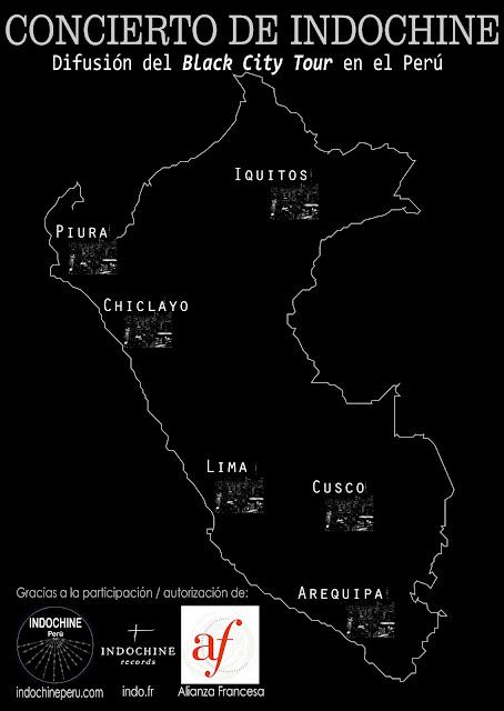Difusión del live «Black City Tour» de Indochine en seis ciudades del Perú
