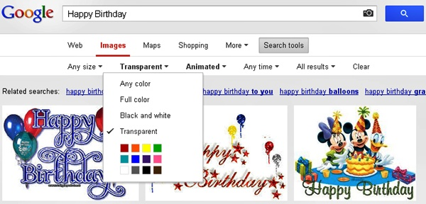 Google Image Search - Transparent