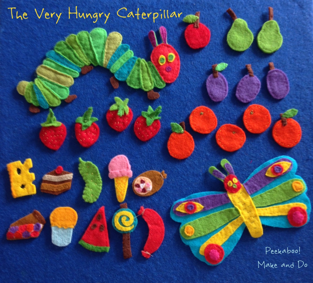 peekaboo make and do the very hungry caterpillar felt story. Black Bedroom Furniture Sets. Home Design Ideas
