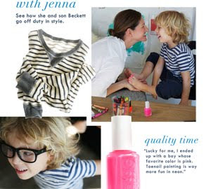 J.Crew catalog feature showing mother with son, featuring pink nail polish on his toenails. Quote:Lucky for me, I ended up with a boy whose favorite color is pink. Toenail painting is way more fun in neon.