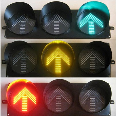 Hình ảnh đèn tín hiệu giao thông mũi tên 3 màu D300 xanh vàng đỏ
