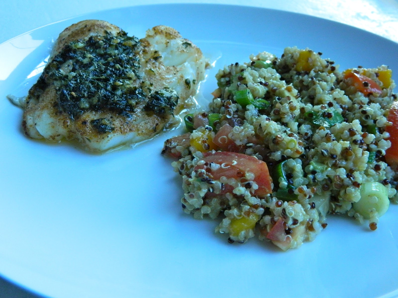 ... : Grilled Sea Bass and Quinoa Salad with Mango, Avocado and Tomatoes