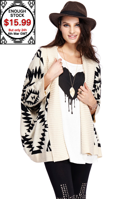 romwe off-white aztec tribal cardigan.$15.99 on 6th march only!