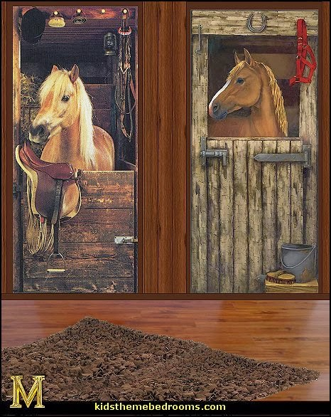 Horse theme bedrooms girls horse themed bedroom ideas for Equestrian wall mural
