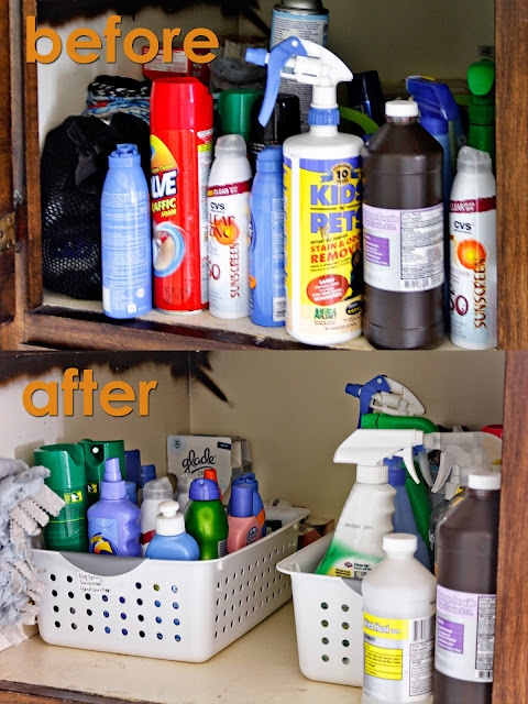 before and after cleaning supplies cabinet organization